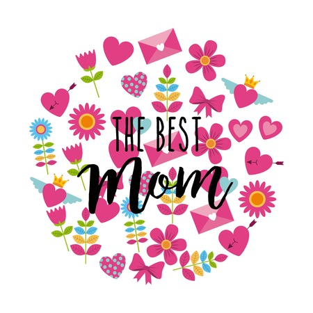 the best mom greeting card round decoration icons icon vector ilustration Illustration