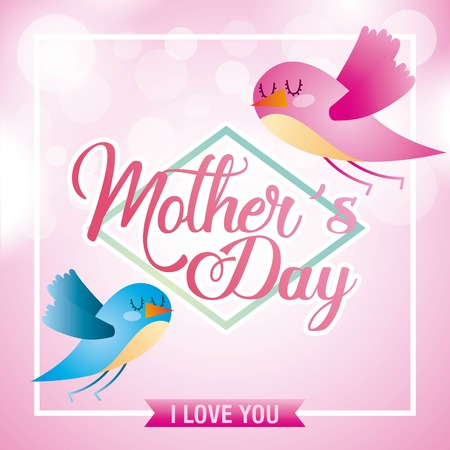 mothers day birds flying with spheres blurred background icon vector ilustration