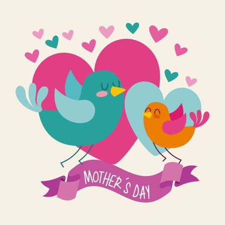 little birds hearts ribbon wave mothers day icon vector ilustration
