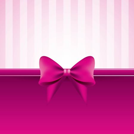 pink background with bow striped pattern decoration vector illustration