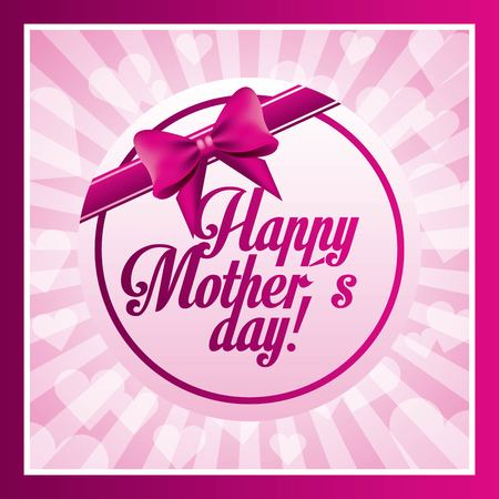 Happy mothers day round frame bow beautiful blurred rays vector illustration