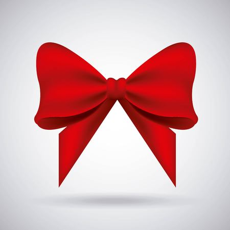 Red bow ribbon tied decoration ornament vector illustration