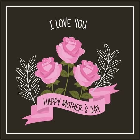 Happy mothers day love you pink roses ribbon decoration black background vector illustration