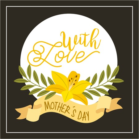 hibiscus flowers leaves ribbon with love mothers day vector illustration