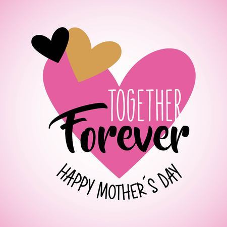 cute hearts love together forever mothers day vector illustration