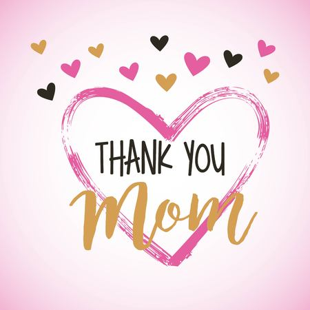painted brush heart thank you mom hearts decoration vector illustration Ilustrace