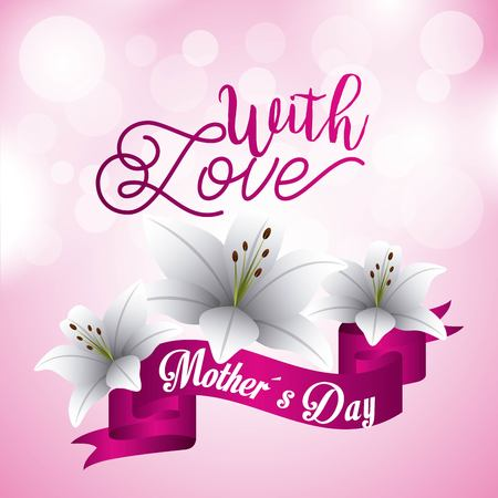 Mothers day with love lily flowers blur circles pink background vector illustration
