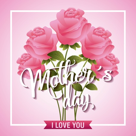 Pink delicate roses flower i love you card mothers day vector illustration Stock Vector - 95906612