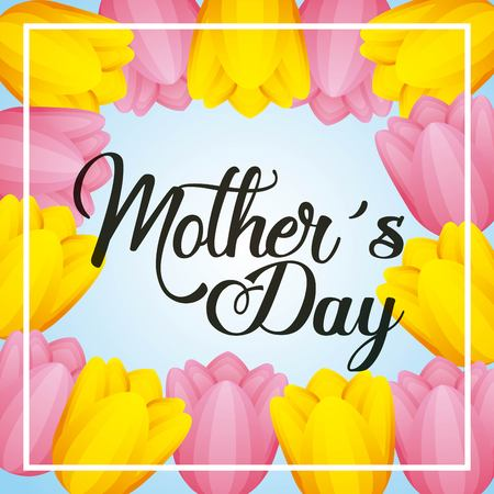 Yellow and pink tulip flowers border decoration mothers day vector illustration