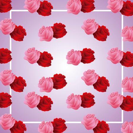 cute roses frame ornament on blur background pattern vector illustration Illustration