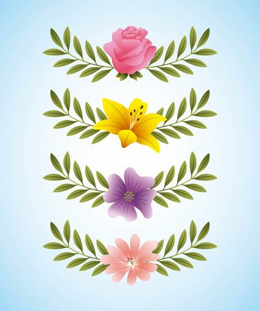 rose hibiscus periwinkle delicate flowers and branch leaves decoration vector illustration Vettoriali