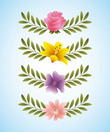 Rose hibiscus bigorneau fleurs délicates et branche feuilles décoration illustration vectorielle Banque d'images - 95911119