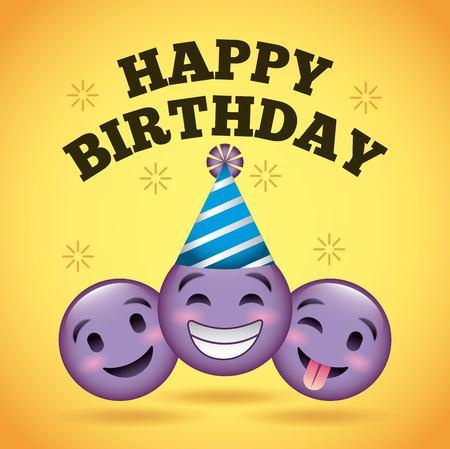 happy birthday card smile emoji purple faces vector illustration  イラスト・ベクター素材