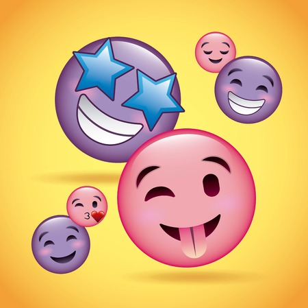 Roze en paarse glimlach emoji gelukkig lachend liefde tong uit vector illustratie Stockfoto - 95911194