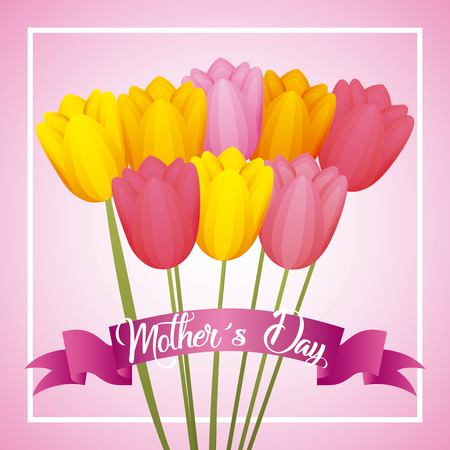bouquet tulip flowers ribbon lovely card mothers day vector illustration