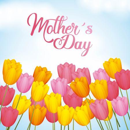 手書きチューリップの花ベクトルイラストと母親の日の挨拶カード