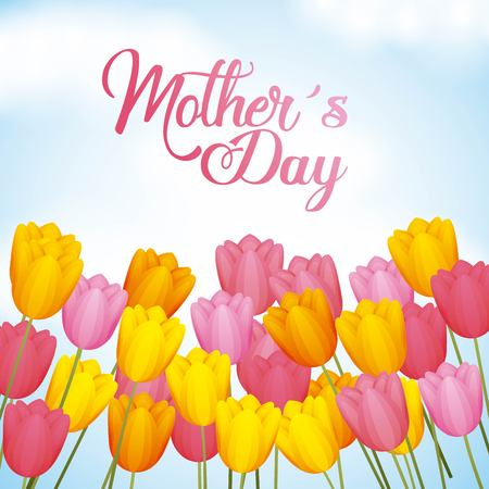 mothers day greetings card with hand lettering tulip flowers vector illustration