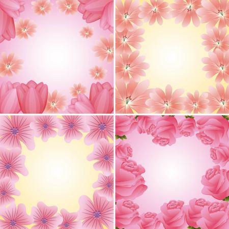 collection frames floral delicate flowers decoration vector illustration
