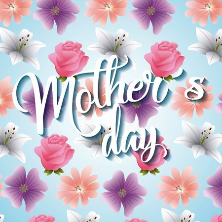 mothers day card pastel color flowers decoration blur ornament vector illustration