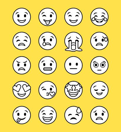set of smiley icons with different face expression vector illustration