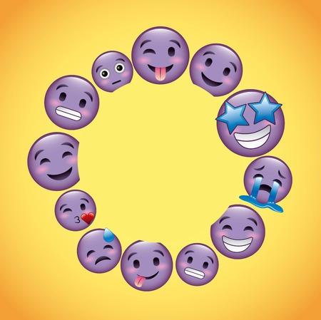 round frame purple emoji faces decoration vector illustration Illustration