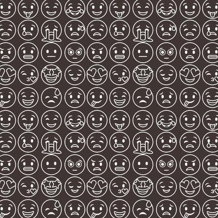 outlined smile emoticons set differents emoji black background vector illustration Фото со стока - 95908379