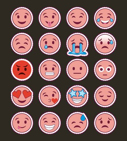 pink smile emojis collection with dark background vector illustration