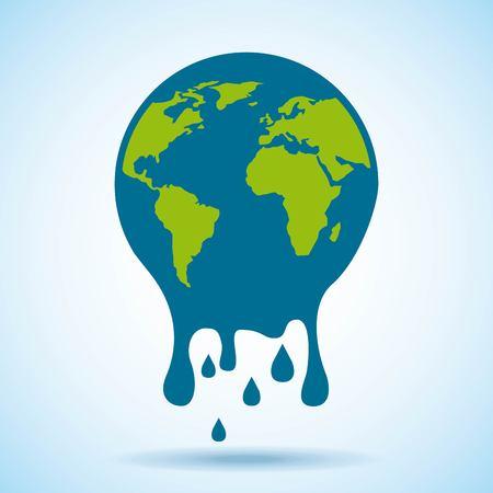 melted globe world risk problem environment vector illustration