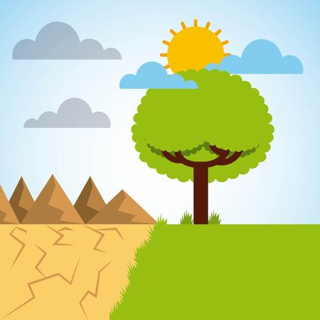 landscape divided green meadow tree and desert mountains vector illustration 일러스트