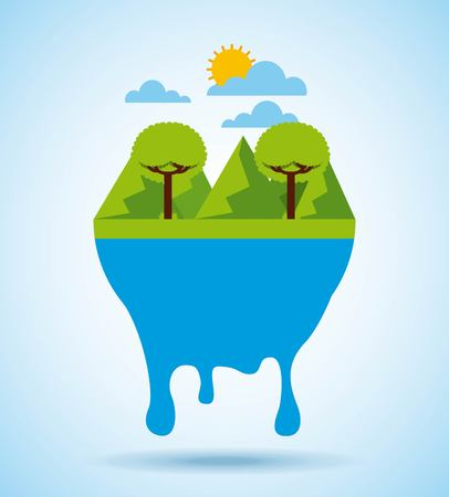 landscape tree mountains sky melting vector illustration