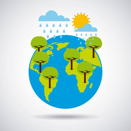 world earth trees rains and summer time vector illustration Фото со стока - 95908397