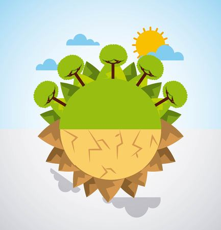 지구 분할 녹색 풍경과 사막 장면 경고 벡터 일러스트 레이 션 스톡 콘텐츠 - 95908404