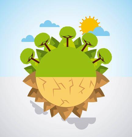 Tierra dividida verde paisaje y desierto escena advertencia ilustración vectorial
