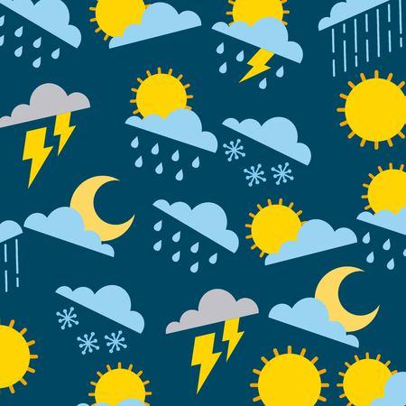 climate sun cloud rain thunderbolt winter snow pattern vector illustration Ilustração