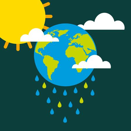 earth drops rain clouds sun climate change vector illustration