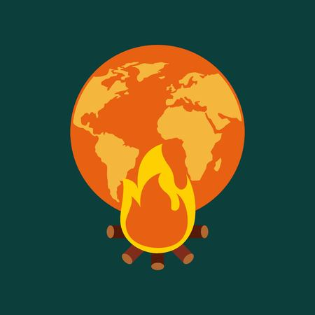orange and yellow planet earth bonfire climate change vector illustration