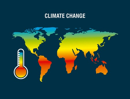 climate change map earth thermometer color degraded vector illustration Illustration