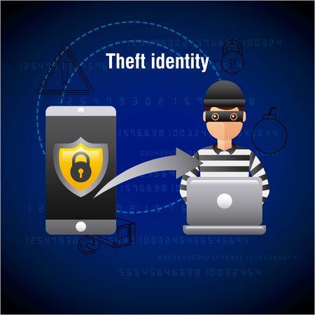theft identity hacker laptop hacking mobile data vector illustration Illustration