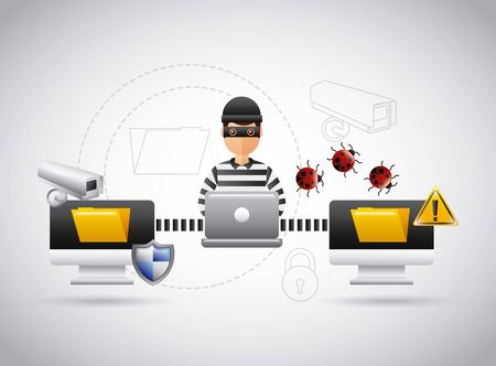 hacker theft file information laptop virus problem vector illustration