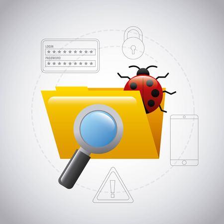 folder file bug virus magnifier search technology vector illustration Illustration