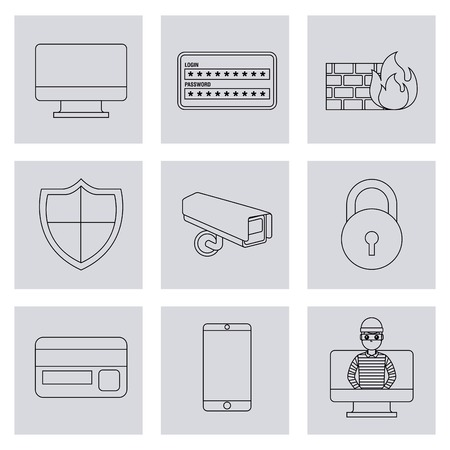 theft identity technology digital set icons vector illustration