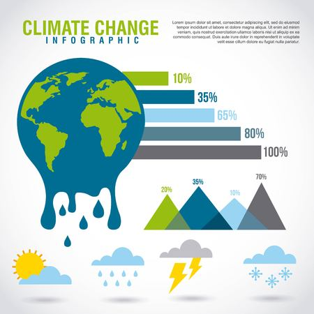 climate change infographic melted planet graphic chart vector illustration