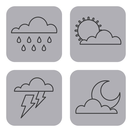 set of climate  change clouds sun rain sky vector illustration
