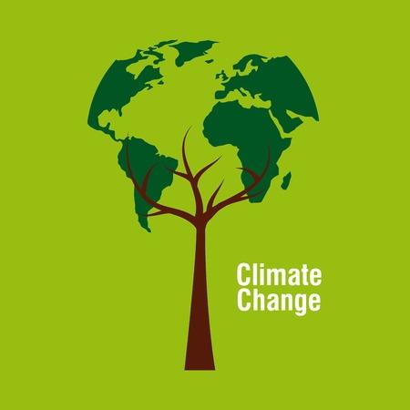 planet earth shape tree ecology climate change vector illustration