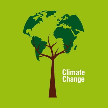 planet earth shape tree ecology climate change vector illustration