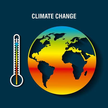 planeet aarde ziek met thermometer opwarming concept vectorillustratie Vector Illustratie
