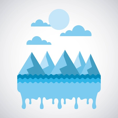 melted landscape icing mountains water sky vector illustration Ilustração