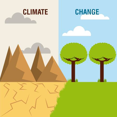 landscape divided green scene and desert mountain climate change vector illustration
