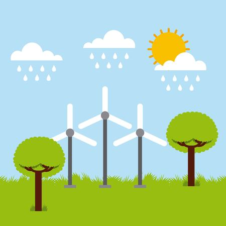 turbine winds ecology trees raining sky cloud sun vector illustration