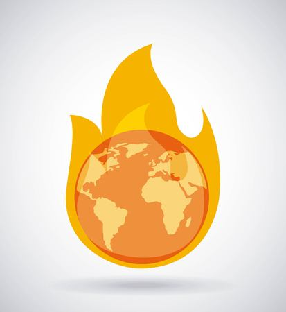 global earth burning fire climate change concept vector illustration